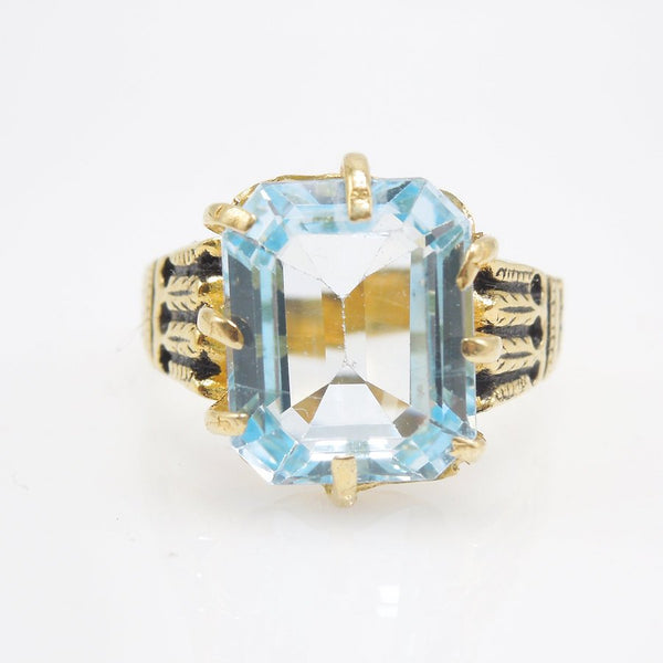 Victorian Style Emerald Cut Blue Topaz Ring - Vermeil (Gold & Sterling Silver)