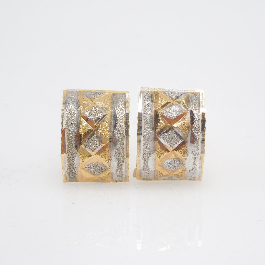 Handmade Vintage 18K Bicolor White and Yellow Gold Stud Earrings ... 338ef4f8570a