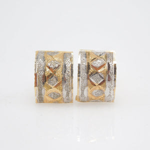 Handmade Vintage 18K Bicolor White and Yellow Gold Stud Earrings