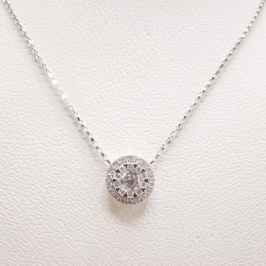 18K White Gold and Diamond Disk Necklace