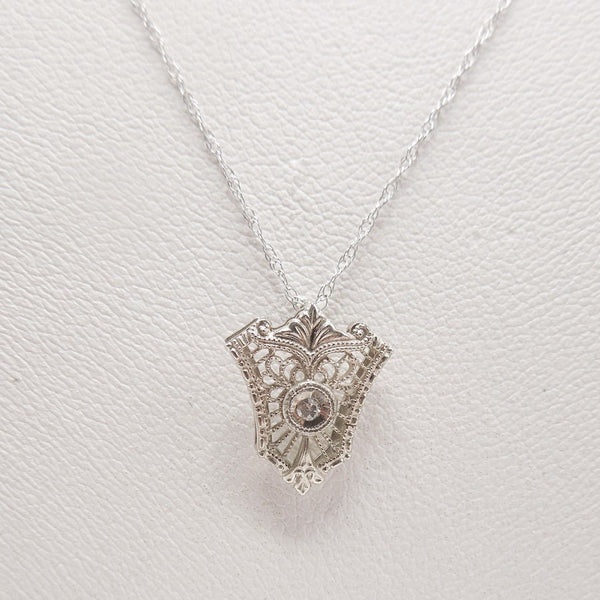 "14K White Gold and Diamond Antique Filigree 18"" Necklace"