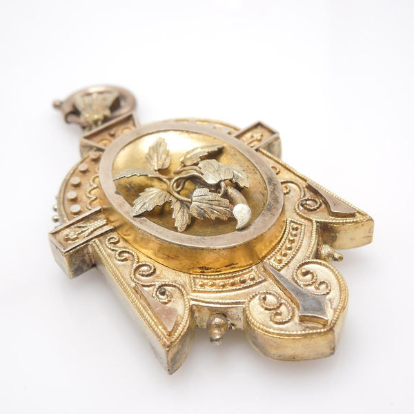Mixed Gold and Metal Westlake/Etruscan Revival (late 1800s) Antique Gold Locket Pendant