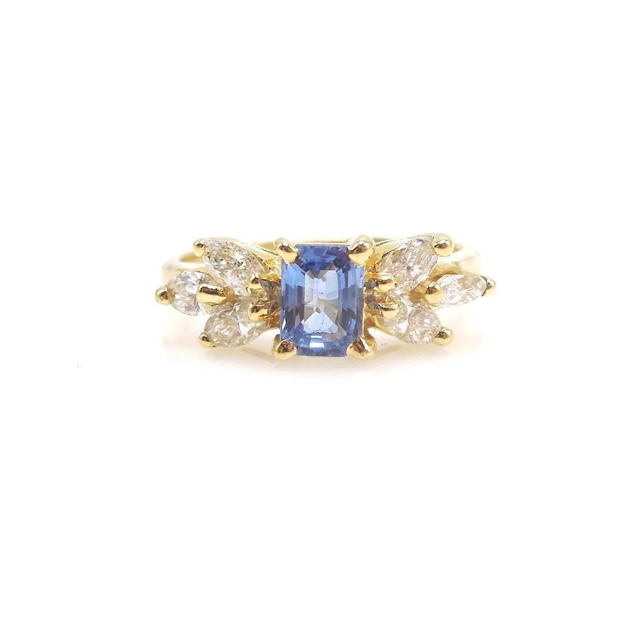 Emerald Cut Sapphire and Marquise Cut Diamond Ring in Yellow Gold