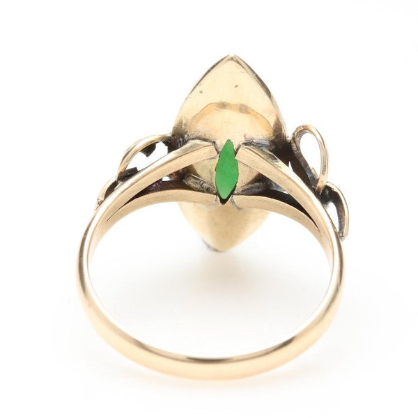 14K Yellow Gold and Jadeite Ring - Arts and Crafts Style - 1930s