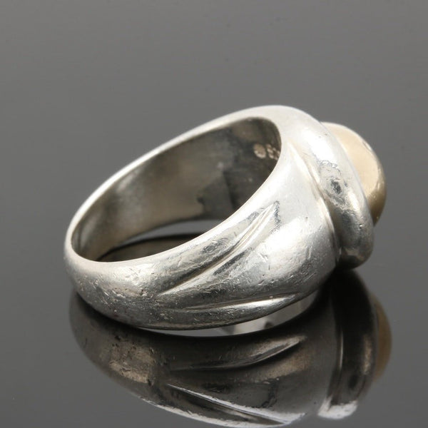 Large Modernist Style Sterling Silver and 14K Ring