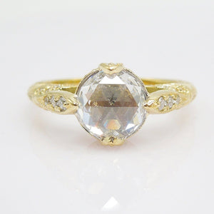 18K Yellow Gold Diamond Ring - The Compass Ring - with 7mm Rose Cut Diamond