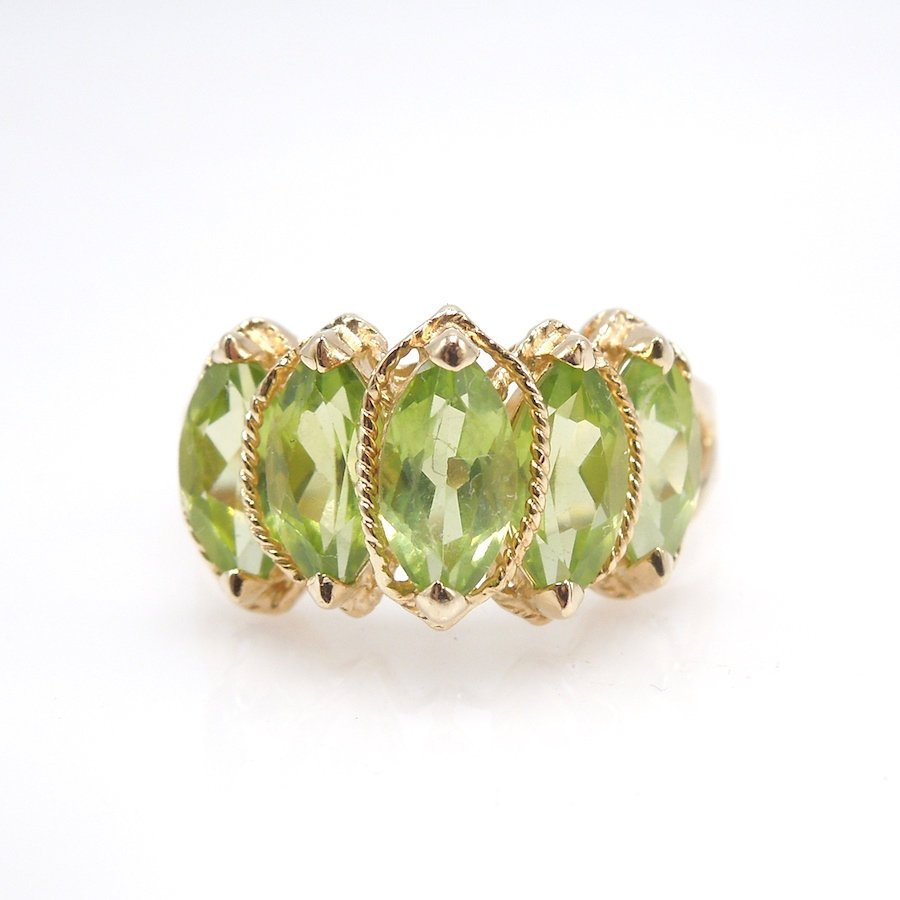 Five Stone Ring with Marquise Cut Peridots in 14K Yellow Gold