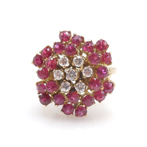 Beautiful Ruby and Diamond Flower Ring in  Yellow Gold
