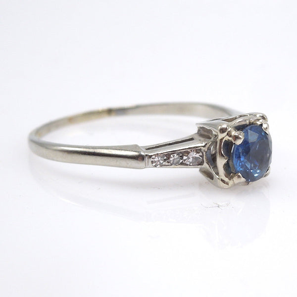 0.65ct Ceylon Blue Sapphire in 18K White Gold and Diamond Ring