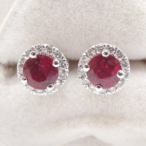 Red Ruby and Diamond Halo Stud Earrings