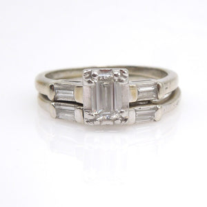 White Gold and Emerald Cut Diamond Engagement/Wedding Set with Baguettes