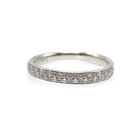 14K White Gold Wedding Band with Staggered Diamonds