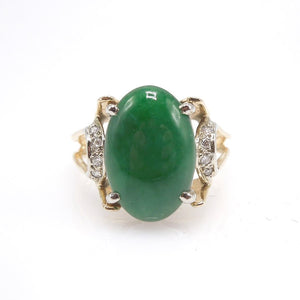 Midcentury Jade and Diamond Ring in Yellow Gold