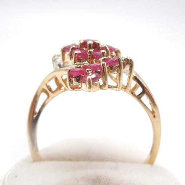 Vintage Ruby and Diamond Bypass Swirl Cluster Ring in Yellow Gold