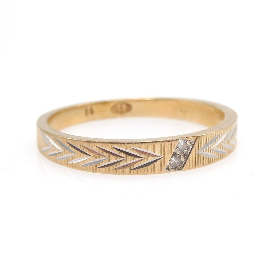 Midcentury Retro Yellow Gold Wedding Band with Two Small Diamonds