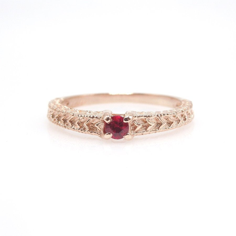 Art Deco Style 14K Rose Gold Band with Ruby