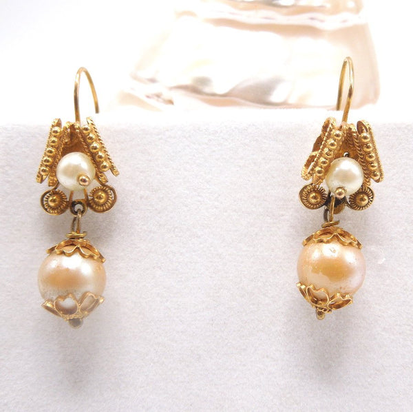 10K Yellow Gold and Golden Freshwater Pearl Victorian Drop Earrings