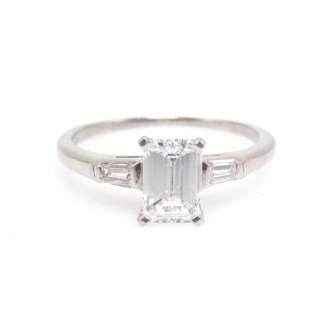 Retro Light Carat Emerald Cut Diamond Engagement Ring in Platinum with Baguettes