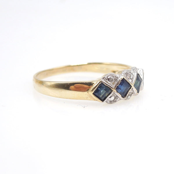 Bicolor Sapphire and Diamond Band in 14K Yellow and White Gold