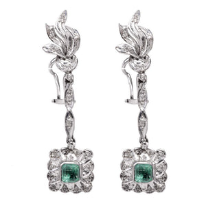 Vintage Emerald and Diamond Drop Earrings in Palladium