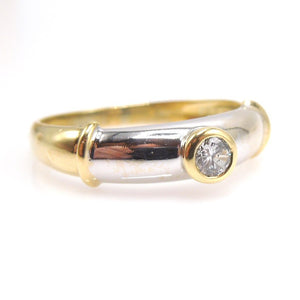 Vintage Midcentury Bicolor White Gold and Yellow Gold Diamond Ring