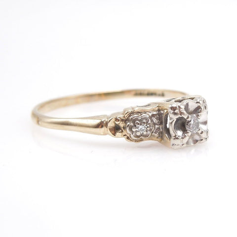1930s Bicolor Yellow and White Gold Diamond Ring - Illusion Mount