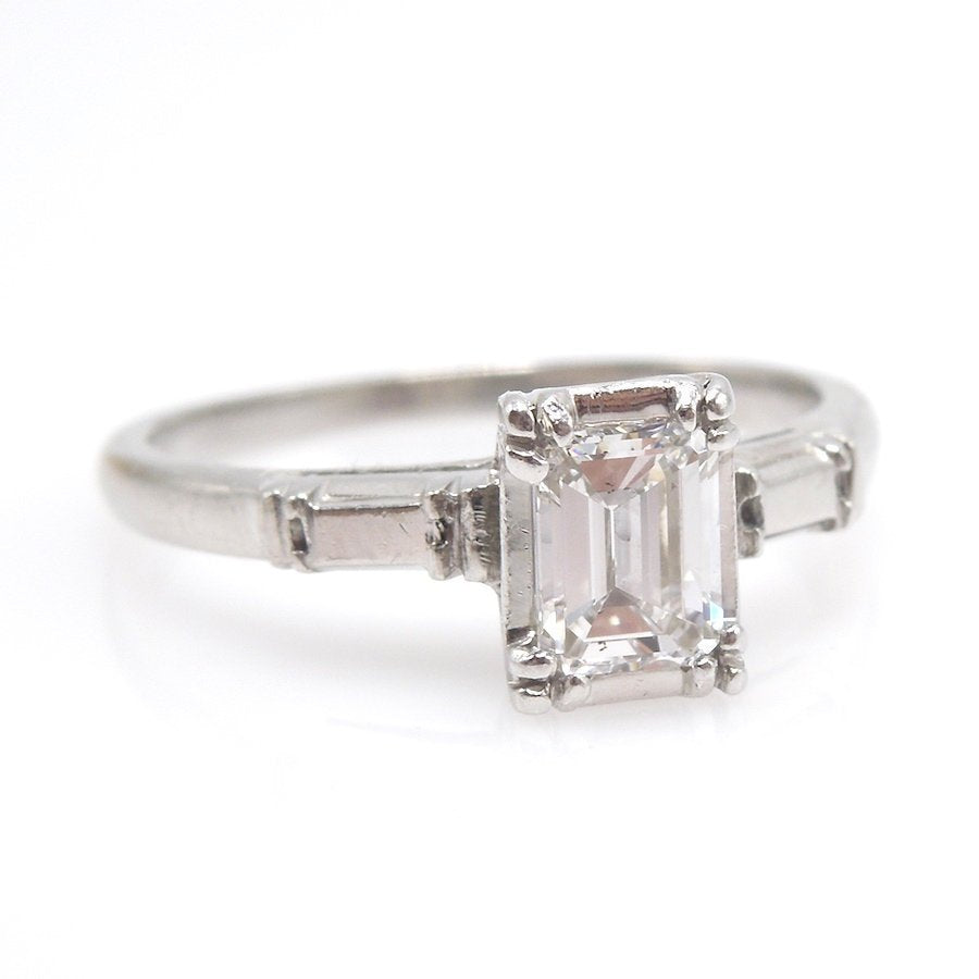 Retro 0.44ct Emerald Cut Solitaire Engagement Ring in Platinum with Wedding Band