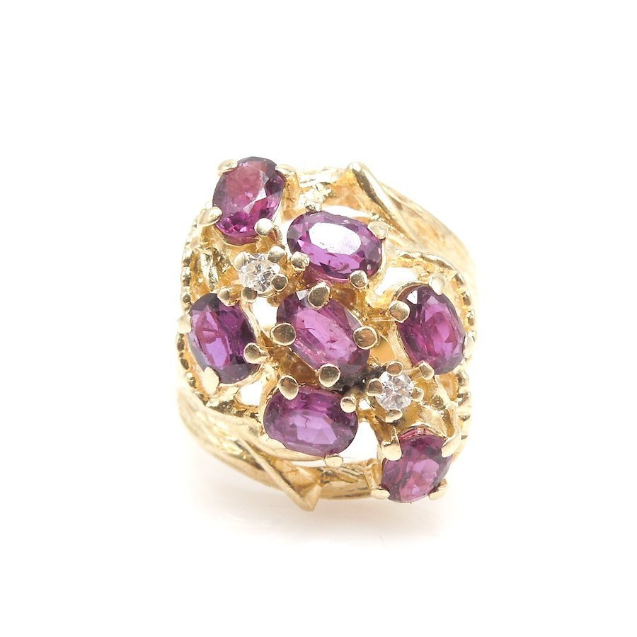 Large 14K Yellow Gold Oval Rhodolite Garnet and Diamond Ring