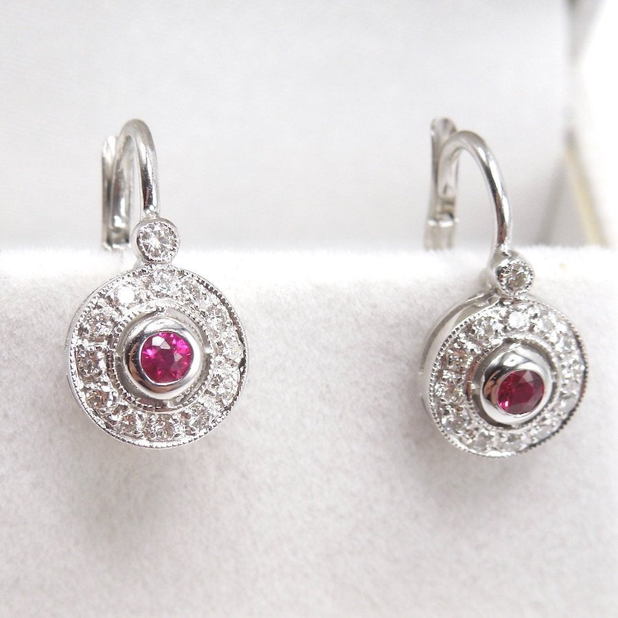 14K White Gold Ruby and Diamond Halo Lever Back Drop Earrings