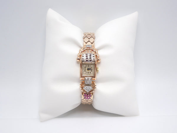 1940s Retro 14K Rose Gold, Diamond, and Ruby Chalet Ladies Winding Watch Bracelet