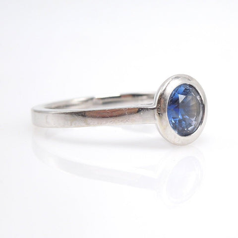 1.07ct Bicolor Blue and White Sapphire in 14K White Gold Mounting