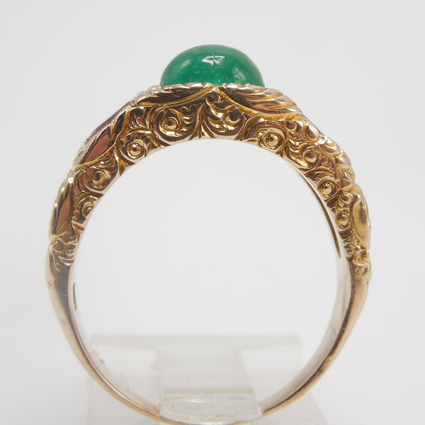 Cabochon Emerald Ring in Yellow Gold with Rubies