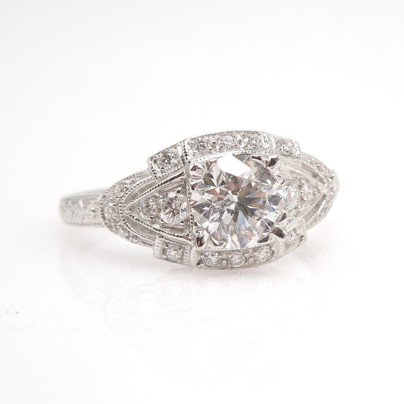 The Eye Ring - 0.90ct Diamond - Art Deco Style Engagement Ring in Platinum