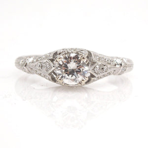 Half Carat Diamond in Petite, Diamond Encrusted Art Deco Style Engagement Ring - 14K White Gold