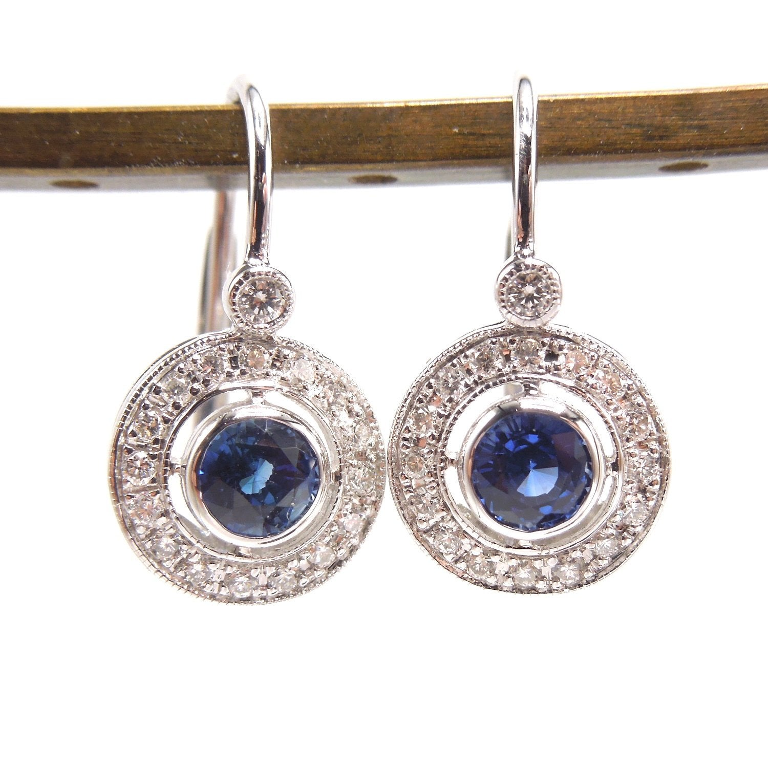 Art Deco Style Diamond and Sapphire Lever Back Drop Earrings
