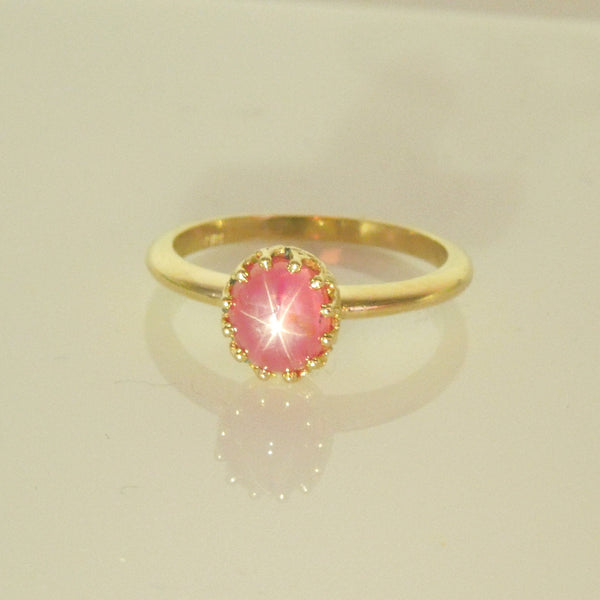 2.46ct Cabochon Pink-Red Star Sapphire in 14K Yellow Gold