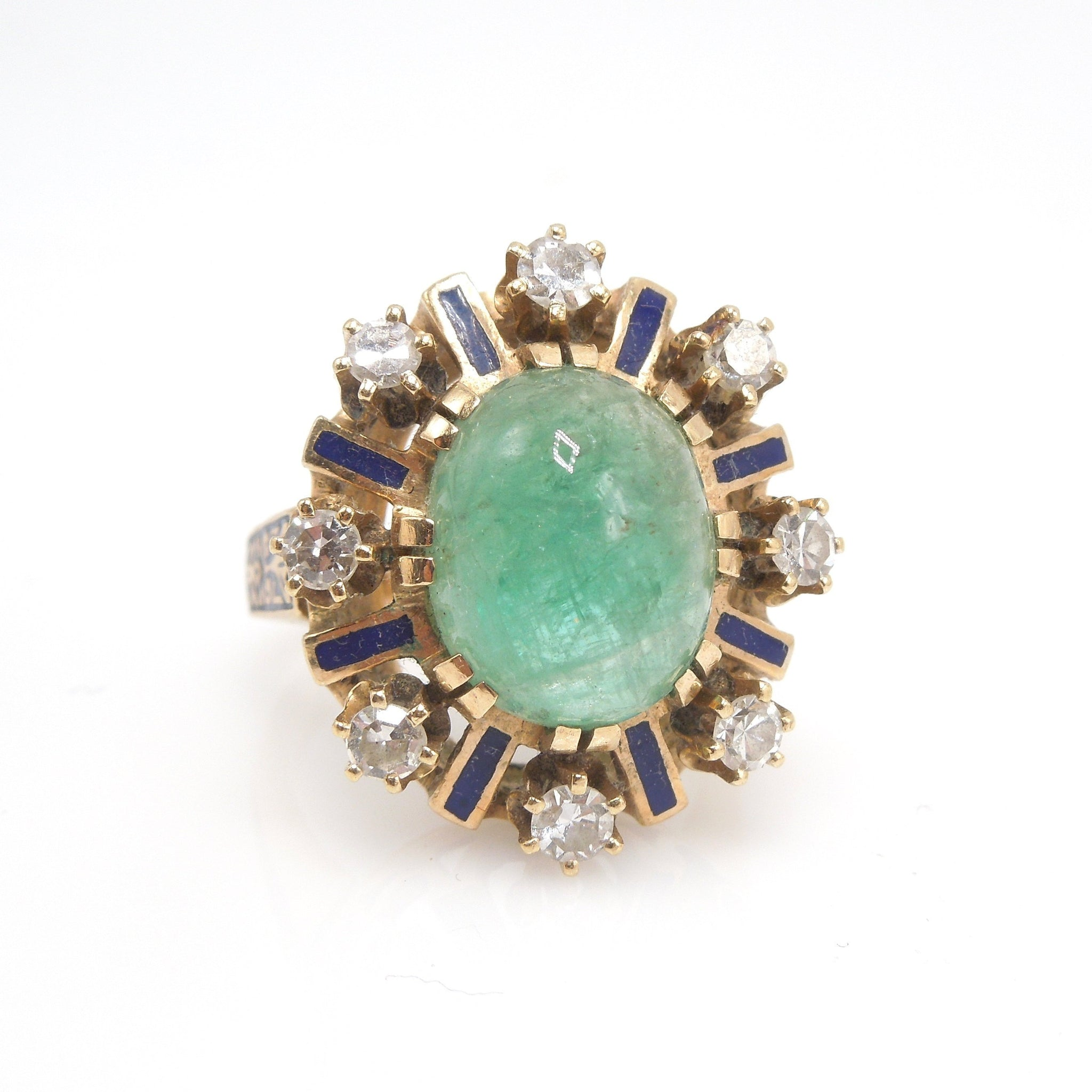 5.00ct Cabochon Emerald Ring - Antique/Victorian - with Enamel and Antique Cut Diamonds
