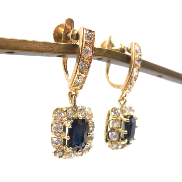Vintage  Sapphire and Diamond Drop Earrings in 14K Yellow Gold