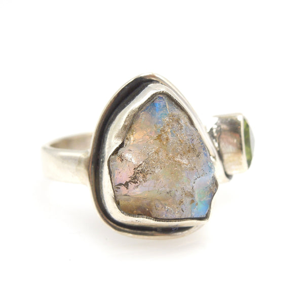 Ethiopian Opal Rough and Peridot Ring in Sterling Silver