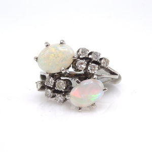 Midcentury Opal and Diamond Cocktail Ring in White Gold