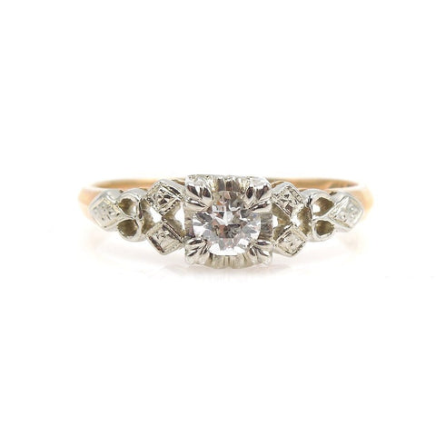 Vintage 1930s Bicolor Yellow Gold and White Gold Diamond Engagement Ring