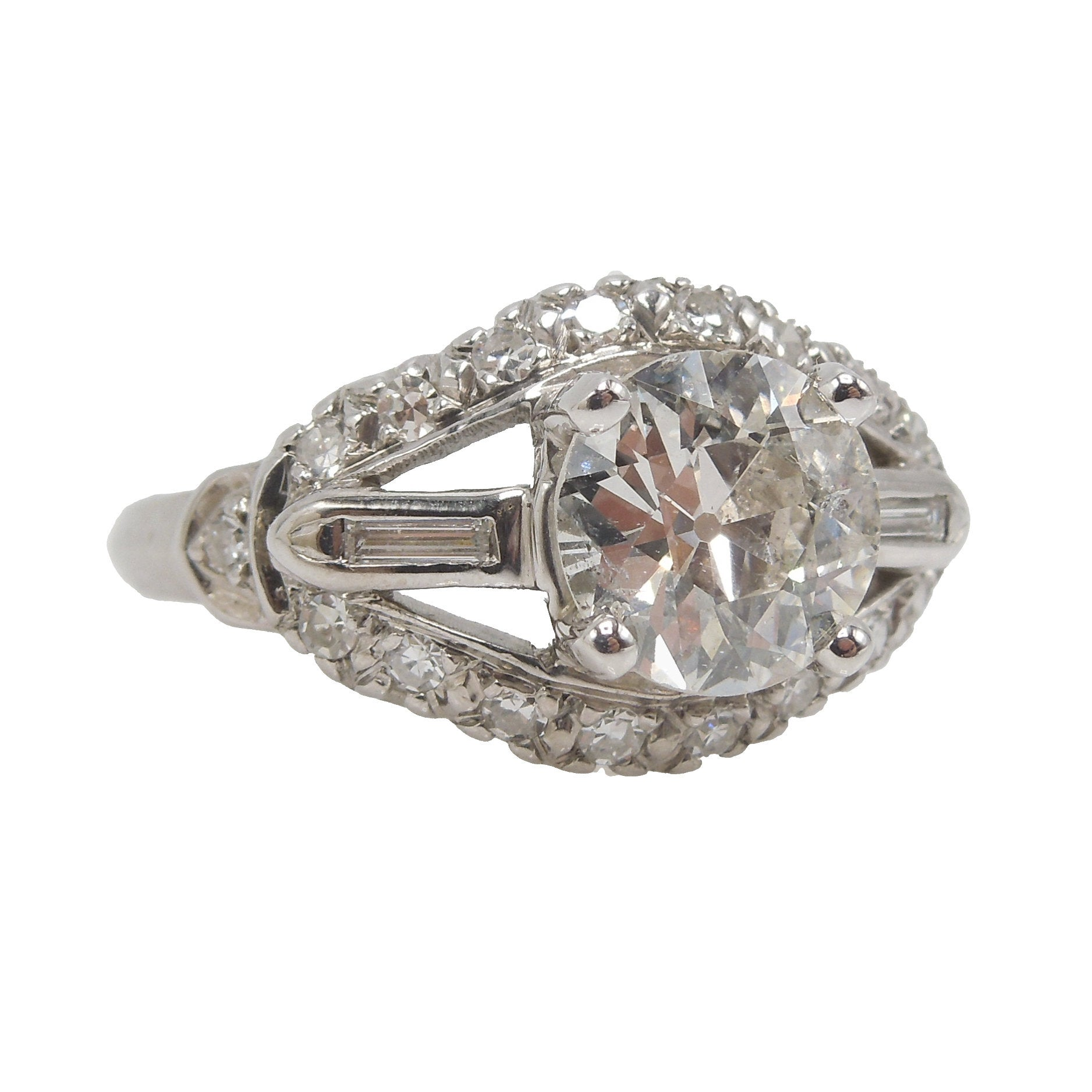1.33 ct Old European Cut Diamond in Art Deco Mounting with Baguettes - Engagement Ring