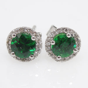 Green Tsavorite Garnet and Diamond Halo Stud Earrings