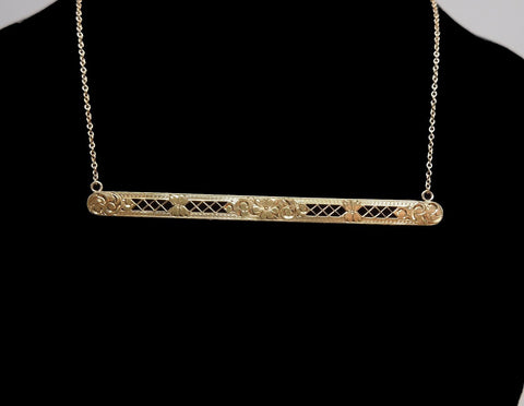 Antique Yellow Gold Bar Pin Necklace