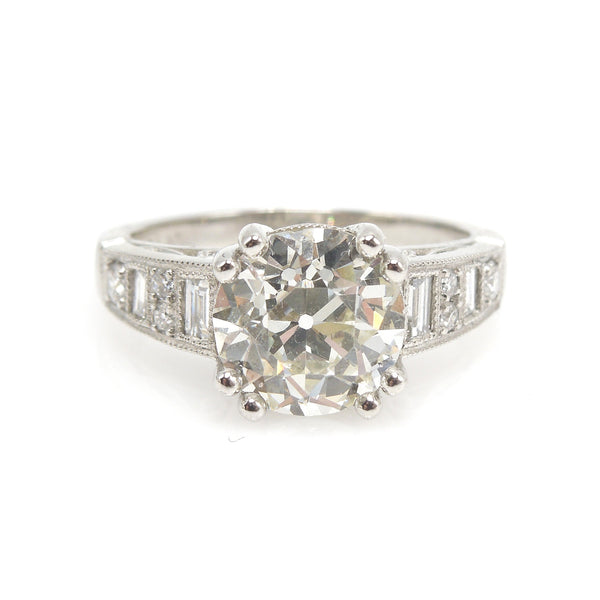 Make it Pretty Ring - 2.72 ct Old European Cut Diamond Engagement - Platinum - Engagement Ring