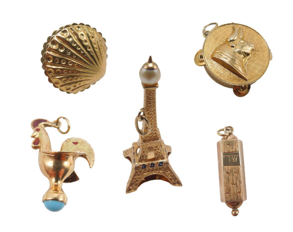 Lot of 5 14K Gold Charms for Charm Bracelet - Eiffel Tower, Mezuzah, Rooster, Tamborine, Oyster with Pearl