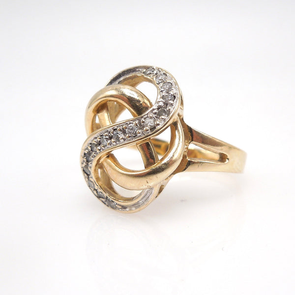 Bicolor Gold - White and Yellow - Infinity Swirl Knot with Diamonds