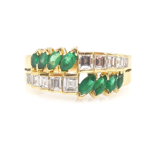Marquise Cut Emerald and Emerald Cut Diamond Ring in 18K Yellow Gold