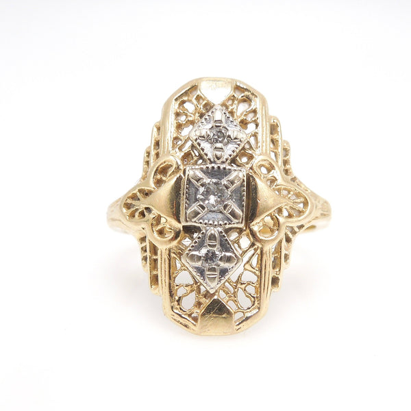14K Yellow and White Gold Filigree Ring with Diamonds