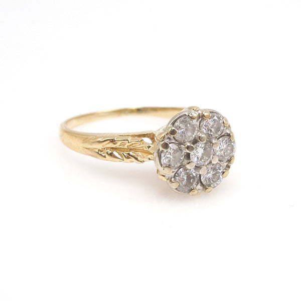 14K Yellow Gold Engraved Ring with Diamond Cluster Plate